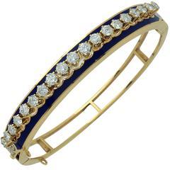Yellow Gold 2.65 Carat Diamonds Bangle Bracelet