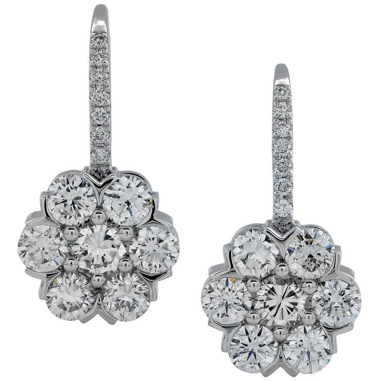 1.95 Carat Diamond White Gold Cluster Earrings 1