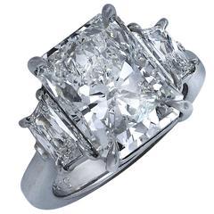 5.55 Carat Radiant Cut Diamond Platinum Three-Stone Engagement Ring