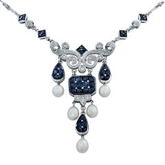 Sapphire Diamond Pearl White Gold Necklace