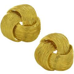 Yellow Gold Swirl Earrings