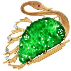 Jade Gold Swan Brooch