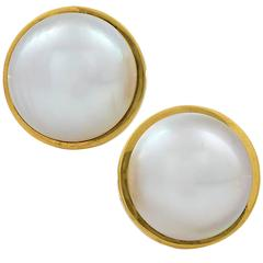 Riviera Pearl Yellow Gold Earrings