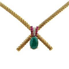 French Hallmarked Gemstone Diamond Yellow Gold Necklace