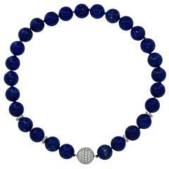 Beautiful Lapis Lazuli and Diamond Clasp Necklace