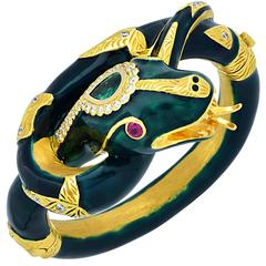 Emerald Ruby Diamond Yellow Gold Snake Bangle Bracelet