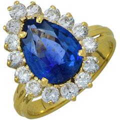 Sapphire Diamond Gold Halo Engagement Ring