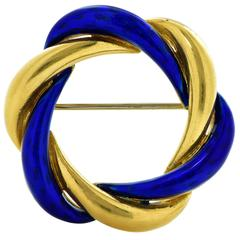 Tiffany & Co. Enamel Gold Circle Brooch