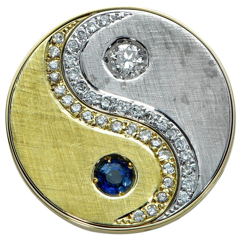 Sapphire Diamond White and Yellow Gold Pendant For Sale