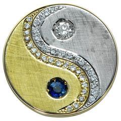 Sapphire Diamond White and Yellow Gold Pendant