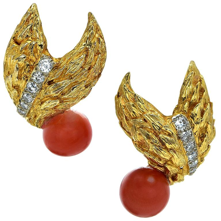 Coral Diamond Yellow Gold Leaf Earrings