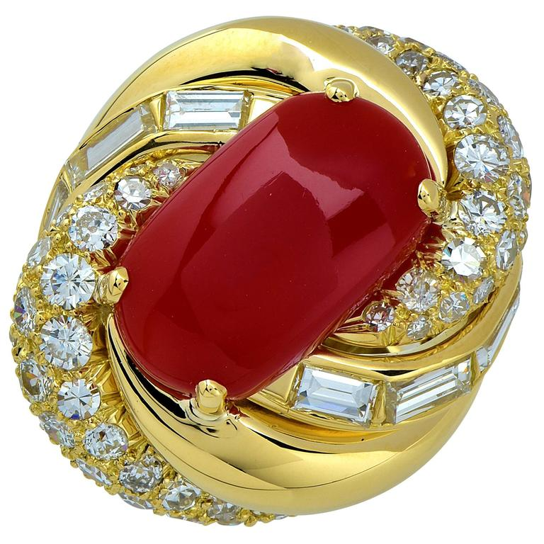 David Webb Coral Diamond Gold Ring
