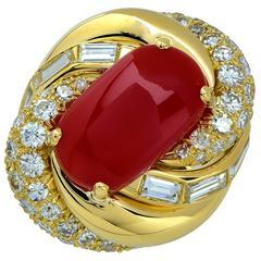 David Webb Coral Diamond Gold Ring