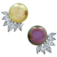 Pearl Diamond Platinum Earrings