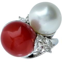 Coral Pearl Diamond Platinum Bypass Ring