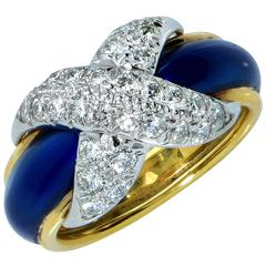 Tiffany & Co. Schlumberger  Diamond Enamel Gold Ring