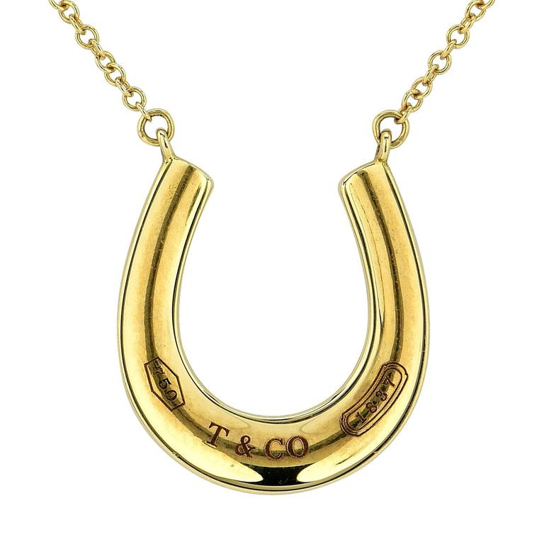Tiffany & Co. 1837 Gold Horseshoe Pendant and Necklace For Sale
