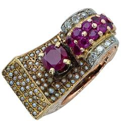 Burma Ruby Rose Gold Retro Ring