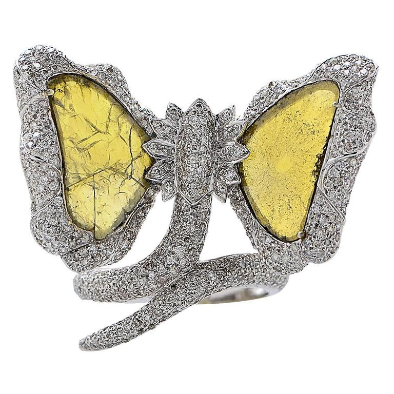 Diamond Slice Gold Butterfly Ring