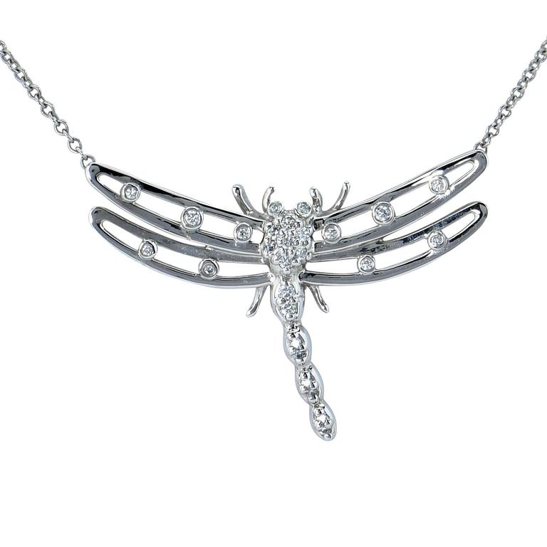 Tiffany & Co. Dragonfly Diamond Platinum Necklace