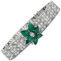 Emerald Diamond Platinum Bracelet
