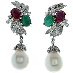 Pearl Ruby Emerald Diamond White Gold Earrings