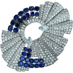 Art Deco Diamond Sapphire Double Clips Brooch