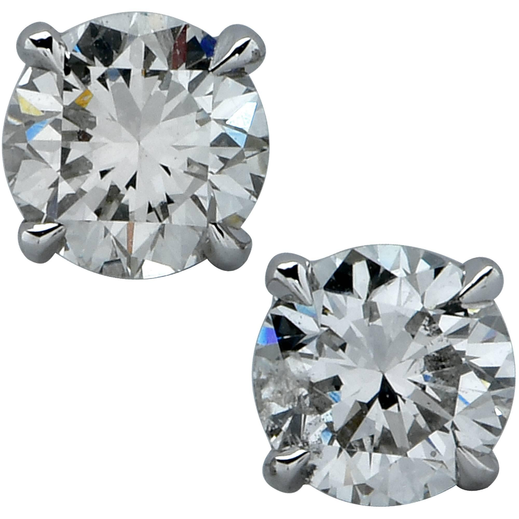 1 Carat Diamond Solitaire Stud Earrings