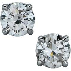 1.23 Carat Diamond Solitaire Stud Earrings