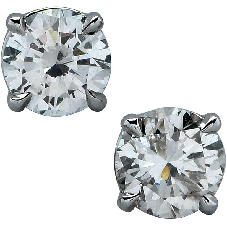 1.23 Carat Diamond Solitaire Stud Earrings