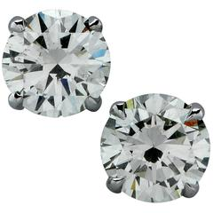 1.39 Carat Diamond Solitaire Stud Earrings