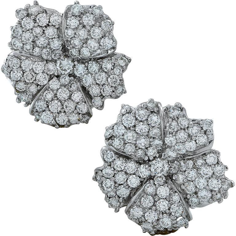 Diamond Pave Flower Earrings For Sale