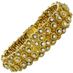 3.10 Carat Diamond and Yellow Gold Bracelet