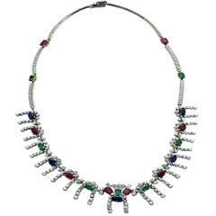 Diamond, Sapphire, Emerald and Ruby Necklace