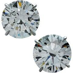 GIA Graded 9.81 Carat Round Brilliant Cut Diamond Solitaire Platinum Studs