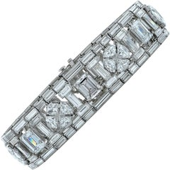 GIA Graded 46 Carat Mix Cut Diamond Platinum Bracelet, Circa 1940s