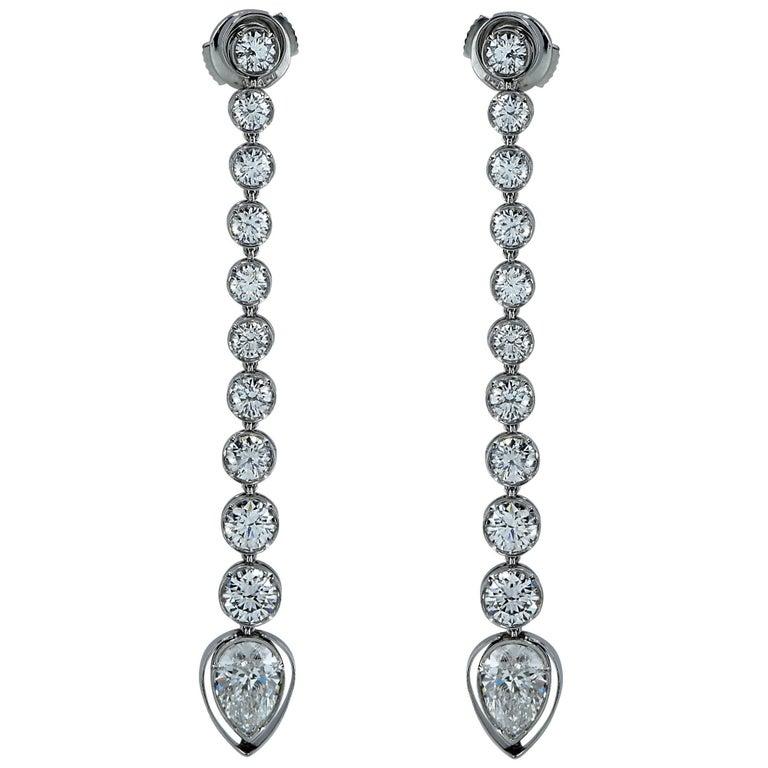 Handmade 5.40 Carat Diamond Dangle Earrings