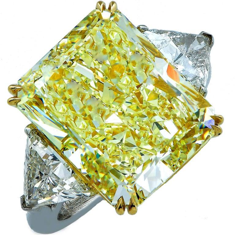 14.20 Carat GIA Fancy Light Yellow Diamond Three-Stone Engagement Ring