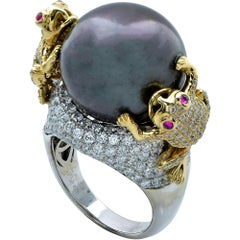 Unique Tahitian Pearl Ring with Diamond Pave Frogs