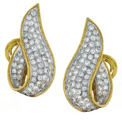 Pave Diamond Gold Earclips