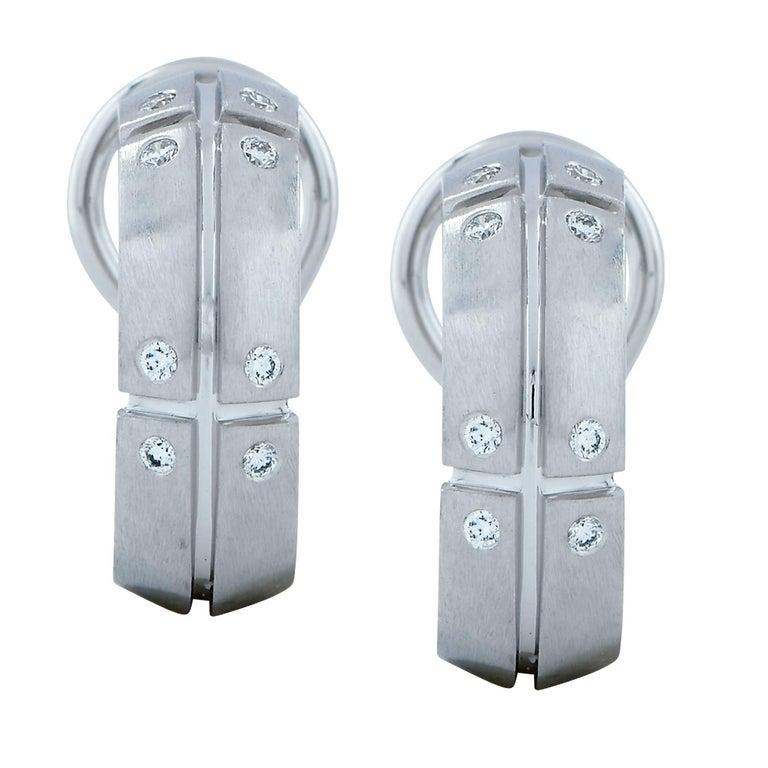 Tiffany & Co. Diamond Hoop Lever-Back Earrings For Sale