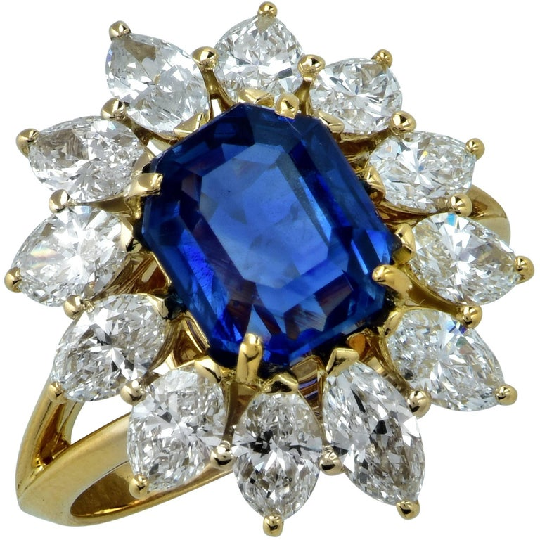 French Sapphire Diamond Cluster Yellow Gold Ring