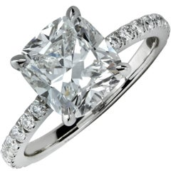 GIA Graded 2.91 Carat Cushion Brilliant Cut Engagement Ring