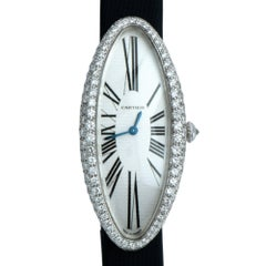 Cartier Ladies white gold Diamond Baignoire Allongée wristwatch ref 2514