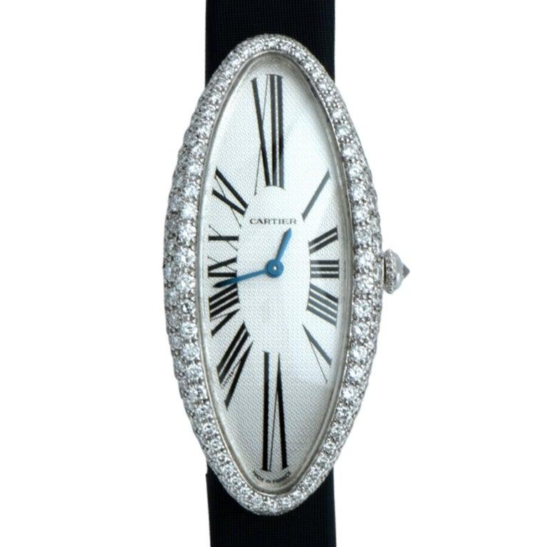 Cartier Ladies white gold Diamond Baignoire Allongée wristwatch ref 2514 For Sale