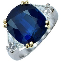 AGL Graded  9.51 Carat Cushion Cut Sapphire Diamond Three-Stone Ring