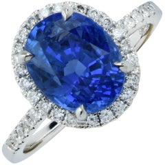 GIA Graded 5.03 Carat Sapphire Diamond Engagement  Ring