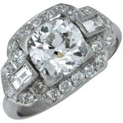Art Deco 3 Carat Round  Diamond Ring