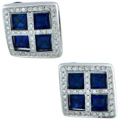 Sapphire and Diamond Men Cufflinks