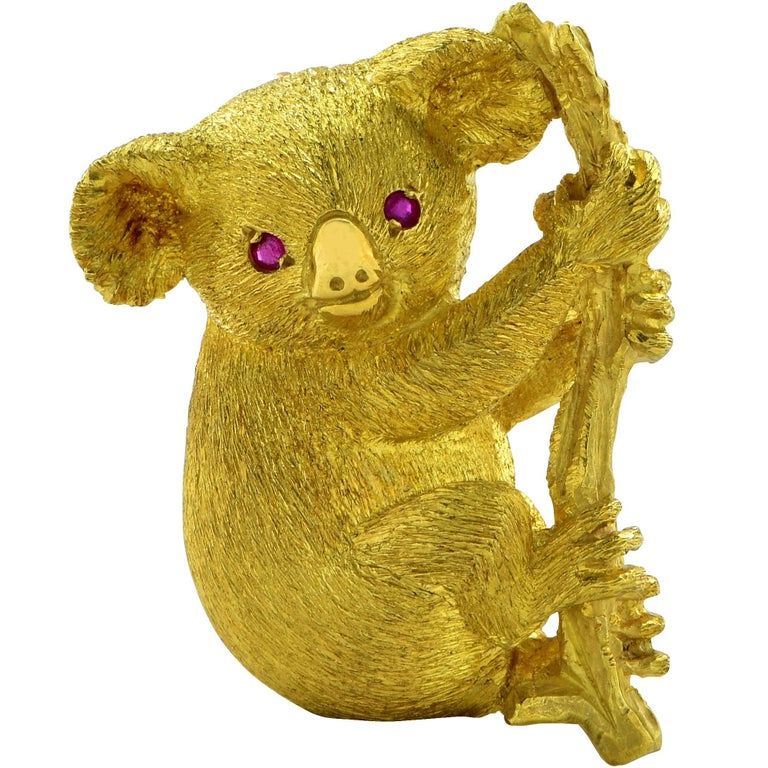 Koala Bear Brooch with Ruby Eyes For Sale